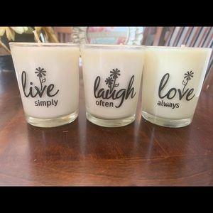 Live, laugh, love candle set.